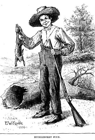 Huckleberry finn with rabbit